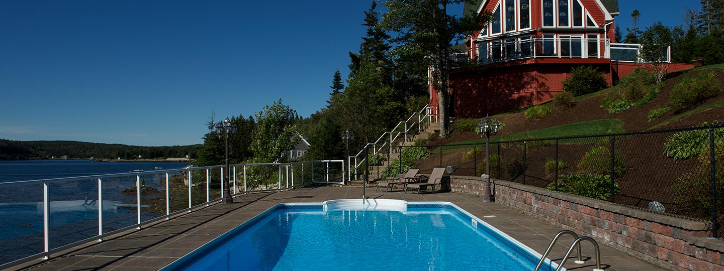 Beautiful in-ground pool on Nova Scotia waterfront
