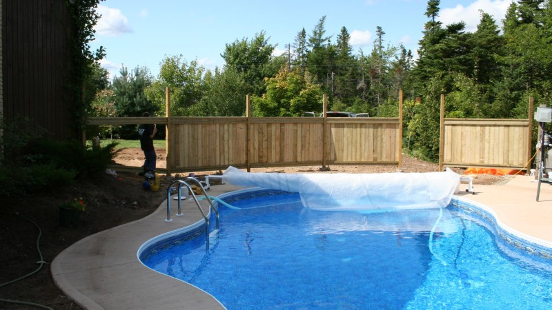 Pool building process - deck and fence