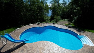 Custom shaped in-ground pool in Glen Arbor, Halifax